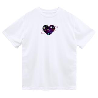 ハート 宇宙 ドライTシャツ