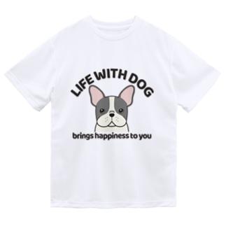 犬と共に(フレンチブル/パイド)  Dry T-Shirt