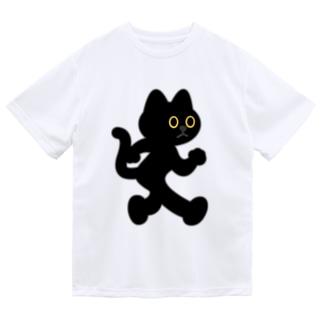 飛び出し坊や猫 黒猫 Dry T-shirts