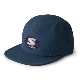 Suzu Purple oval お好みの文字入れます 5 panel caps