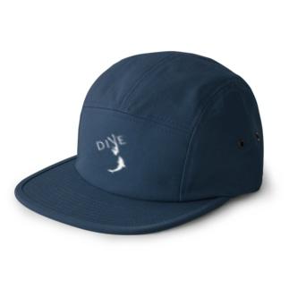 【DIVE】ドルフィンスイム 白 -イルカとスキンダイビング- 5 panel caps