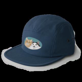 kinako-japanの猫社長さん 猫専務さん 青 5 panel caps