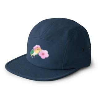 まめるりはことりのお花とシロハラインコちゃん【まめるりはことり】 5 panel caps