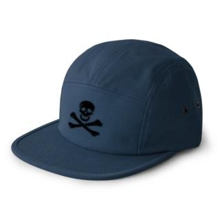 海賊旗スカル-Jolly Roger サミュエル・ベラミーの海賊旗-黒ロゴ 5 panel caps
