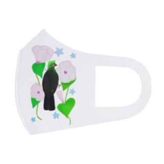 見返り美鳥(ギニアエボシドリ)と花① Full Graphic Mask