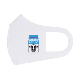 ドット牛乳 (レトロ瓶) Full Graphic Mask
