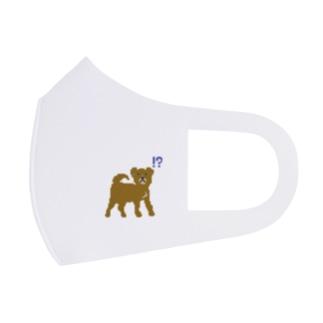 なにかに気づいた犬(茶系) Full Graphic Mask