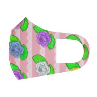 縦長 華やか薔薇 Full Graphic Mask