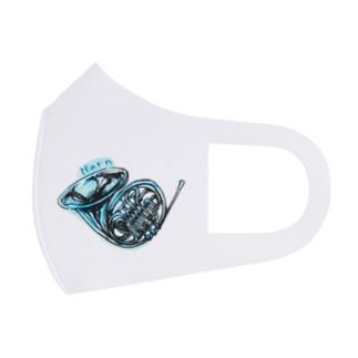 水色のフレンチホルン Full Graphic Mask