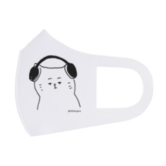 音楽を聴く猫 Full Graphic Mask