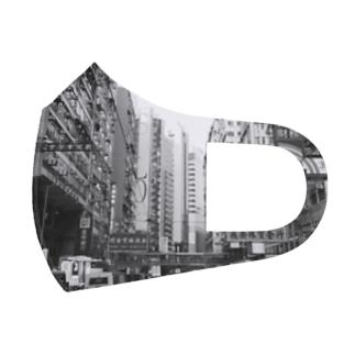 HONG KONG 白黒 Full Graphic Mask