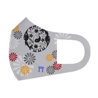 狐*オリジナル丸紋柄 Full Graphic Mask