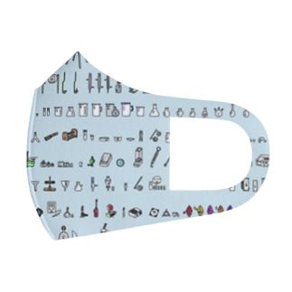 ビーカーくんとそのなかまたち大集合マスク(水色ver.) Full Graphic Mask