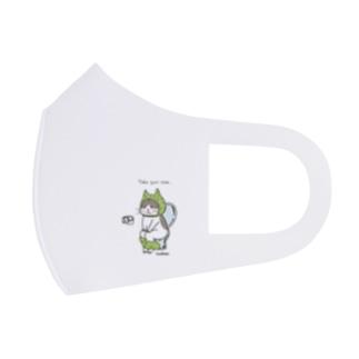 ほっかむねこ屋(アトリエほっかむ)のトイレねこ 緑色 Full Graphic Mask
