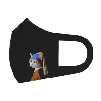 真珠の耳飾りの猫B Full Graphic Mask