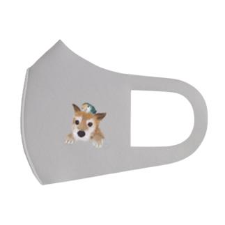 仲良しさん(わんこ&コザクラ)うす茶 Full Graphic Mask