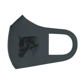 馬の絵マスク(グレー) Full Graphic Mask