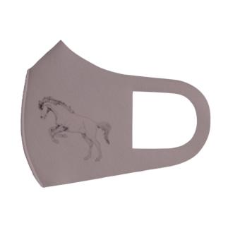 馬の絵マスク2(グレー) Full Graphic Mask