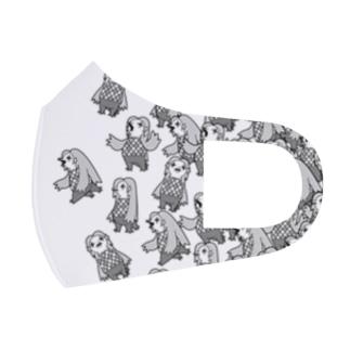 アマビエいっぱい・墨 Full Graphic Mask