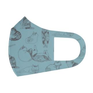 とらまだづくし/ブルー(猫) Full Graphic Mask