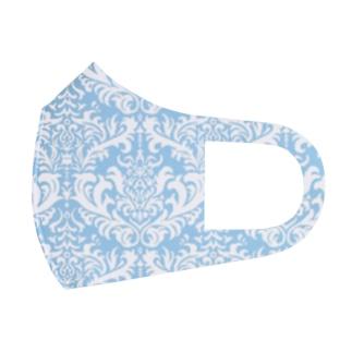 ダマスク柄ブルー Full Graphic Mask