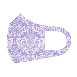 ダマスク柄パープル Full Graphic Mask
