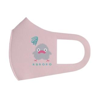 モヤモヤくろこ(グレー)背景ピンク Full Graphic Mask