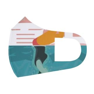 プールを楽しむ夏【夏天】 Full Graphic Mask