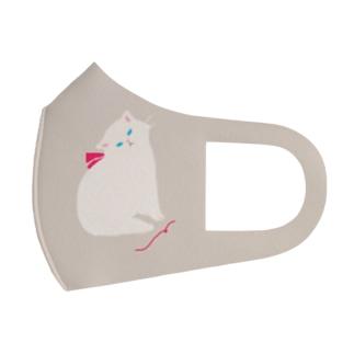 小首をかしげた白猫ちゃん ベージュ Full Graphic Mask