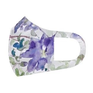クレマチスの水彩画 Full Graphic Mask