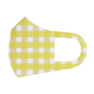 ギンガムチェック黄色 Full Graphic Mask