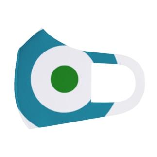 サークルa・ブルーグレー・白・緑 Full Graphic Mask