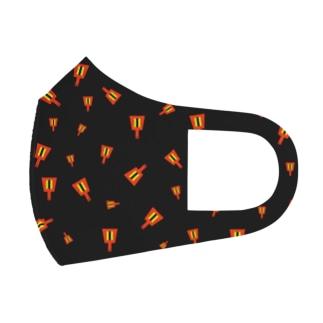 よさこいの鳴子だらけ(黒) Full Graphic Mask