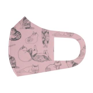 とらまだづくし(猫)/ピンク Full Graphic Mask