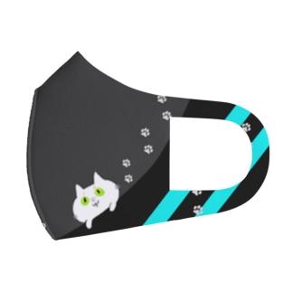 見つめる猫マスク① Full Graphic Mask