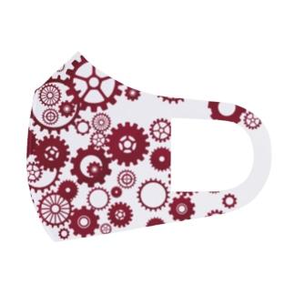 ワインレッド歯車 Full Graphic Mask