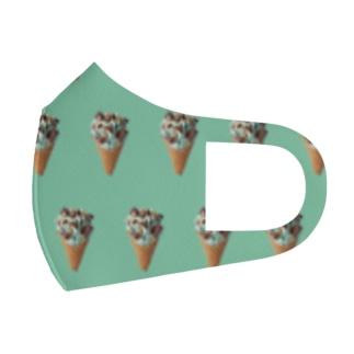 チョコミントワッフルコーン(緑) Full Graphic Mask