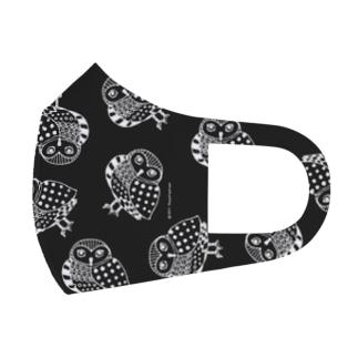 フクロウ マスク 総柄 ブラック Full Graphic Mask