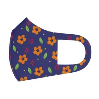 クレパスで描いた花 Full Graphic Mask