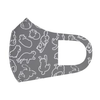 ねこいっぱい白(灰) Full Graphic Mask