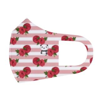 rose × panda ピンクボーダー&無地ピンク Full Graphic Mask