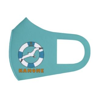 かもめと浮き輪(水色) Full Graphic Mask
