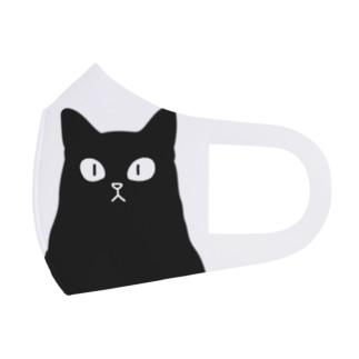 おにぎり型猫(黒猫) Face Mask