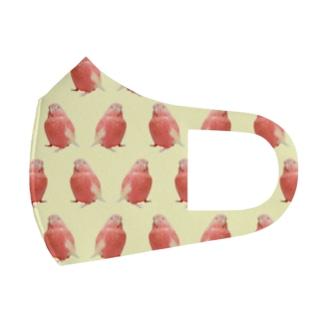 アキクサインコのチャム(チャムがいっぱいイエロー) Full Graphic Mask