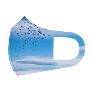 出会いの空と鳥の群れ Full Graphic Mask