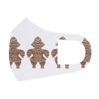 土偶の刺繍横並び Full Graphic Mask