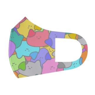 ねこいっぱいマスク(カラフル) Full Graphic Mask