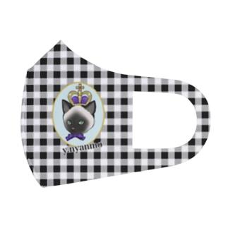 ギンガムチェック シャム猫 Full Graphic Mask