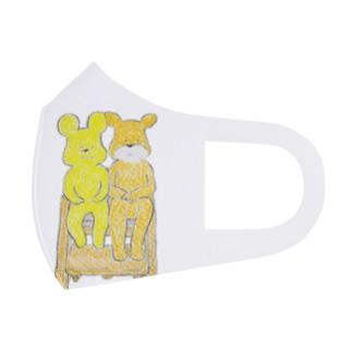 椅子におさまる二匹の子グマ Full Graphic Mask