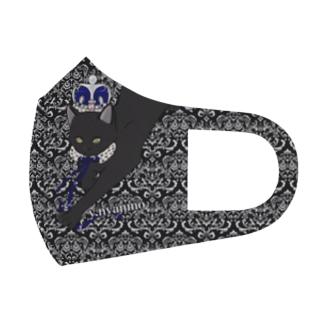 ダマスク柄 黒猫マスク Full Graphic Mask